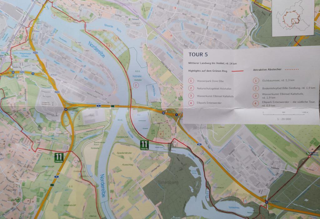 Karte Grüne Ring Hamburg Tour 5